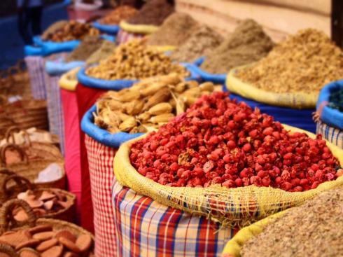 spices in Fez Medina, Morocco.