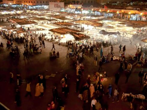 The best way to capture the feel of the famous Jemaa El Fna in Marrakech, is to get up high.  This picture was taken while eating dinner on an upstairs restaurant patio.