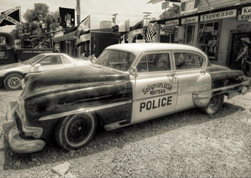 Turning this classic police car black and white made it more authentic. This was taken on Route 66 in California.