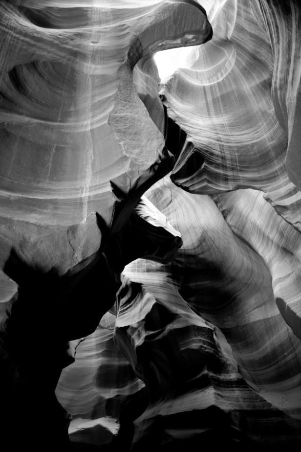 Antelope Canyon, near Page Arizona - making this black and white almost turns a flat photo into a sculpture