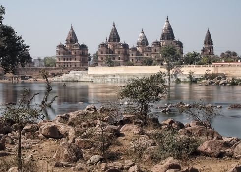 Orchha, India. This small town is surrounded by abandoned 17th century temples. This is the picnic spot where a deer approached, and ate from our hands.