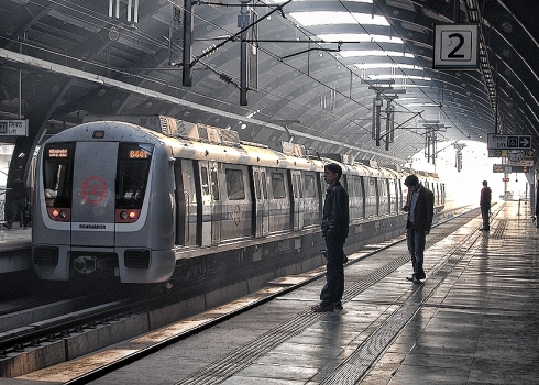 Clean, modern Bombardier subway cars in New Delhi