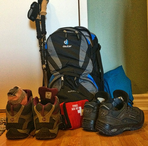 Deuter Futura 22 Backpack, Black Diamond Alpine Ergo Trekking Poles, MEC Alpine Ally Rain Jacket, Merrell Azura Mid Waterproof Hiking Shoes - stay tuned for reviews. And of course my 8 year old Lowa hiking shoes...tried and true