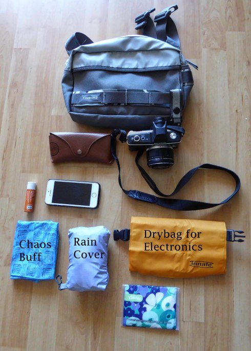 Everything I'll need for quick access - note the rain cover is from my DSLR camera bag but fits snugly over this waistpack